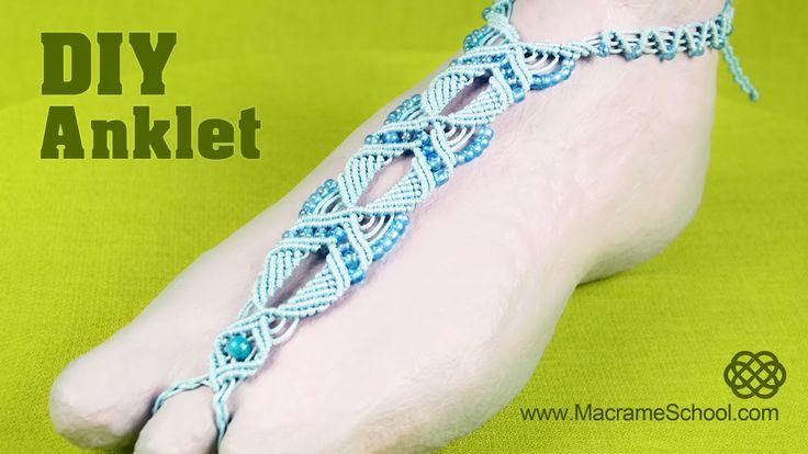 Summer Macramé Anklet - Barefoot Sandal Tutorial from Macrame School (video tutorial!)