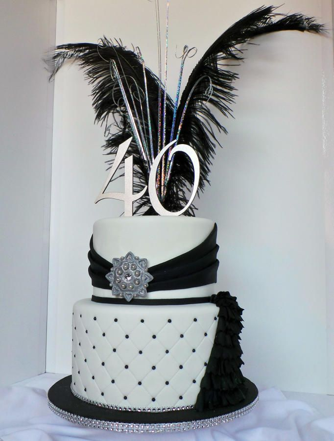 Black, white and silver elegant 40th birthday cake - Cake by Probst Willi Bakery Cakes