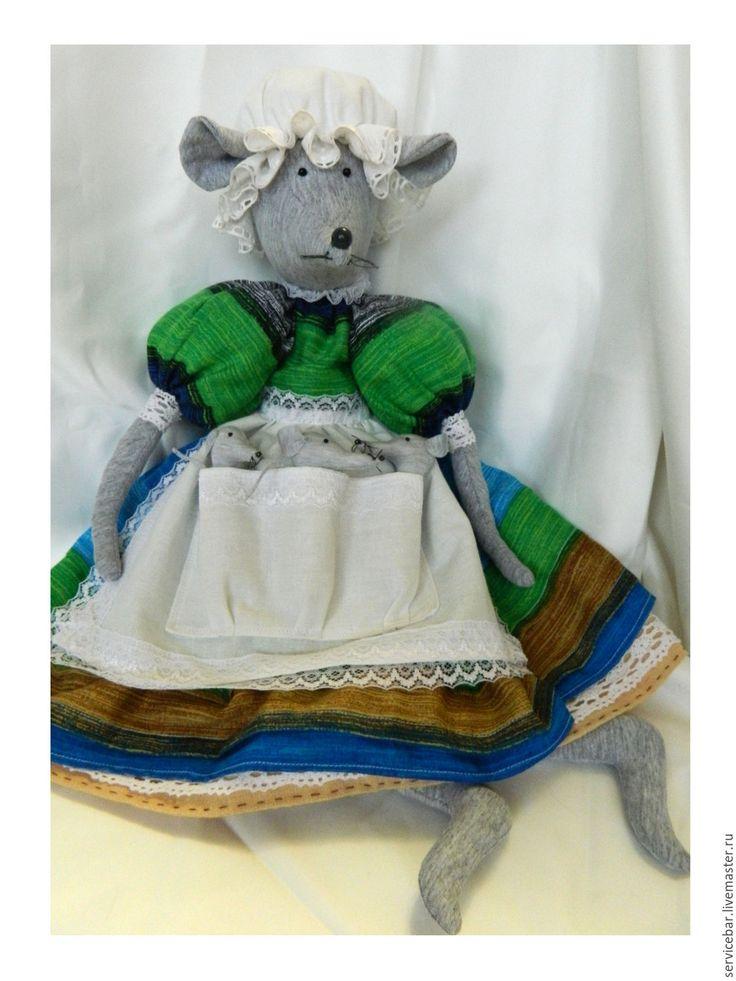 Купить Игрушка текстильная Мышь с мышатами - комбинированный, мышь, мышка, мышонок, маме, подарок, игрушка, ручная работа, текстильная.
