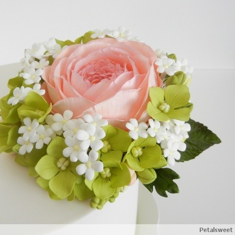 English rose cake with hydrangea, filler flowers, buds and leaves....by Petalsweet.