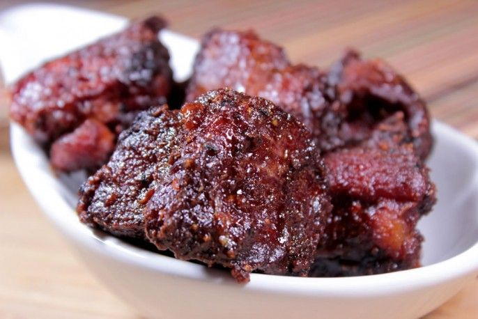 Pork burnt ends made from country style ribs are soft and tender in the center with bark covering the outside. Works great as an appetizer or an entree.