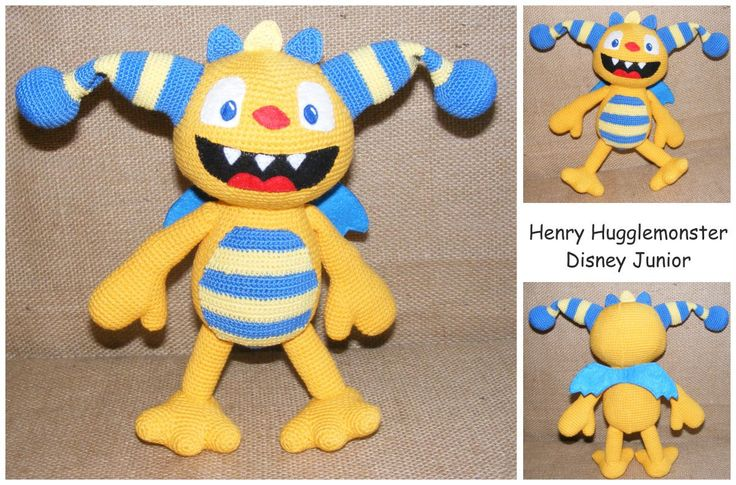 Henry Hugglemonster amigurumi crochet toy, Disney character, monster crocheted, cute Henry, yellow and blue Henry, artist henry, toy gift - pinned by pin4etsy.com