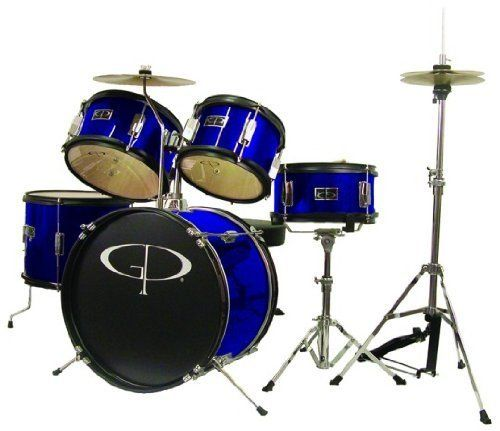 GP55 BLUE 5 Pc Complete Junior Drum Set by GP Percussion. $199.95. This GP Percussion 5-Piece Junior Drum Set helps your child learn to play drums. Designed on a smaller scale than the typical drum set, this set is perfect for helping young students develop the coordination necessary to play the drums. With a hi-hat, snare, tom, floor tom, bass drum, cymbal and stands, this set is just like the full size version. Features fully tunable top and bottom heads, real woo...