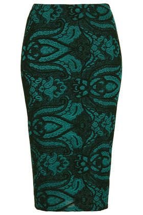Green Baroque Tube Skirt - Pencil Skirts - Skirts  - Clothing