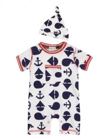Anchor Print Romper and Hat Set
