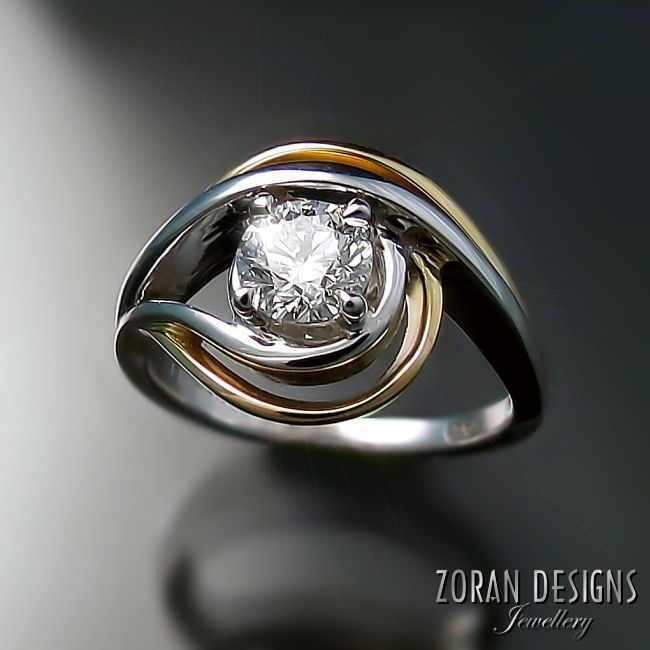 Unique Engagement Ring In Two Tone Gold With Canadian Diamond By Toronto Area Jeweller Zoran