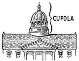 A cupola is an ornamental structure placed on the top of a larger roof or dome. In some cases, the entire main roof of a tower or spire can be a cupola. More frequently, however, the cupola is a smaller structure that sets on top of the main roof.    Sometimes you can reach the cupola by climbing a stairway inside the building. This type of cupola is called a belvedere or a widow's walk. Some cupolas, called lanterns, have small windows that illuminate the areas below.
