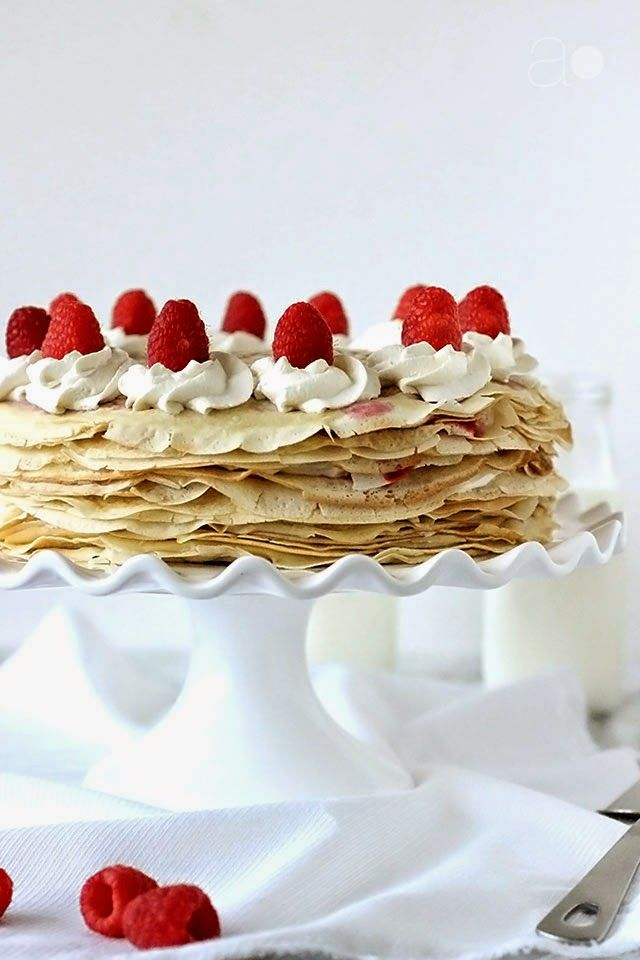 Crepe Cake with Raspberries and Cream from @Nina Gonzalez Gonzalez Gonzalez Caldas