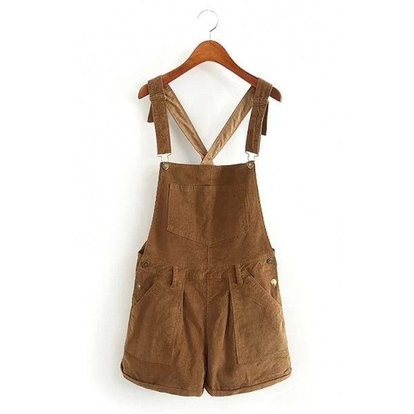 Yoins Short Corduroy Dungarees (1.800 RUB) ❤ liked on Polyvore featuring jumpsuits, jumpsuits & rompers, khaki, playsuit jumpsuit, khaki jumpsuit, jump suit, khaki romper and romper jumpsuit