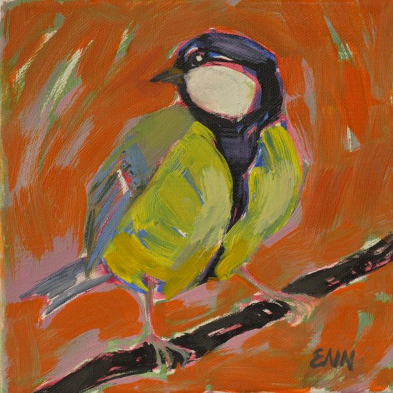 Original oil painting / birds / Titmouse / small by NielsenDenmark