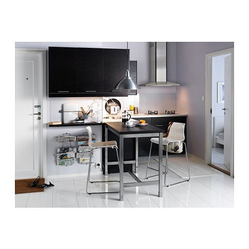 Utby table de bar brun noir acier inoxydable tes for Coin de table ikea
