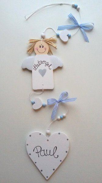 Girlande Engel zur Geburt von Strobelini - Einzigartiges aus Holz auf DaWanda.com