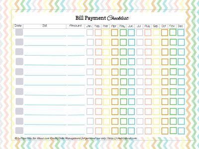 annual bill check list | Printable Bill Payment Checklist