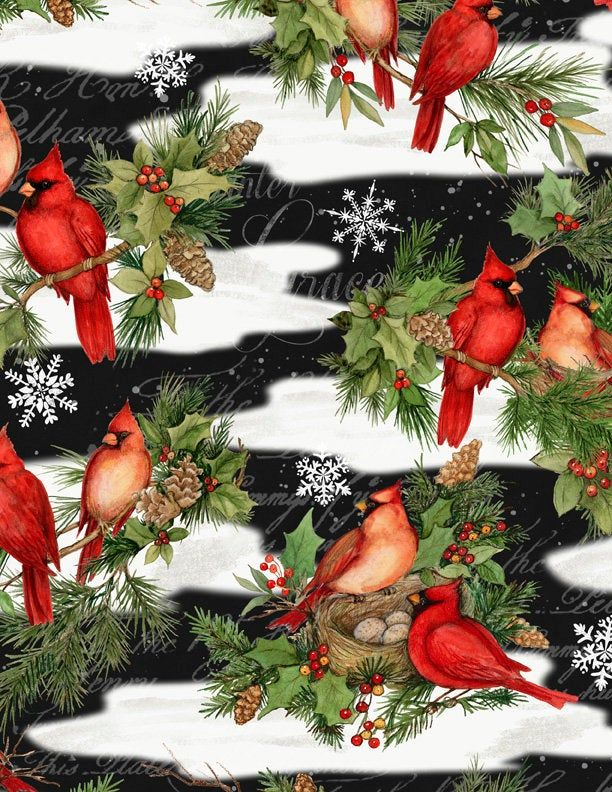 Wilmington Christmas 2020 Cardinal Noel Fabric Wilmington Prints 39638 917 Christmas | Etsy
