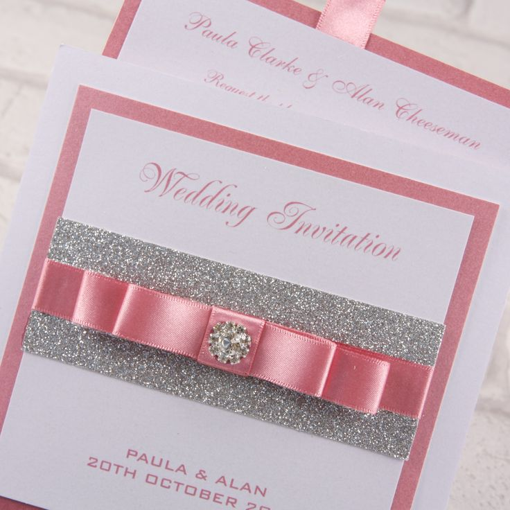 """Luxury premium Wallet invitations from our 'Twinkle Twinkle' range of stationery and accessories. Size 144m x 144mm (approx 6"""" x 6""""). Made from a luxury pearlised 285gm card which is available in 3 shades - Crystal White, Ivory or Cream and decorated in contrast colour of your choice to match your wedding theme. Shown here in a beautiful dusky pink contrast on a crystal white wallet and silver glitter card. £3.95"""
