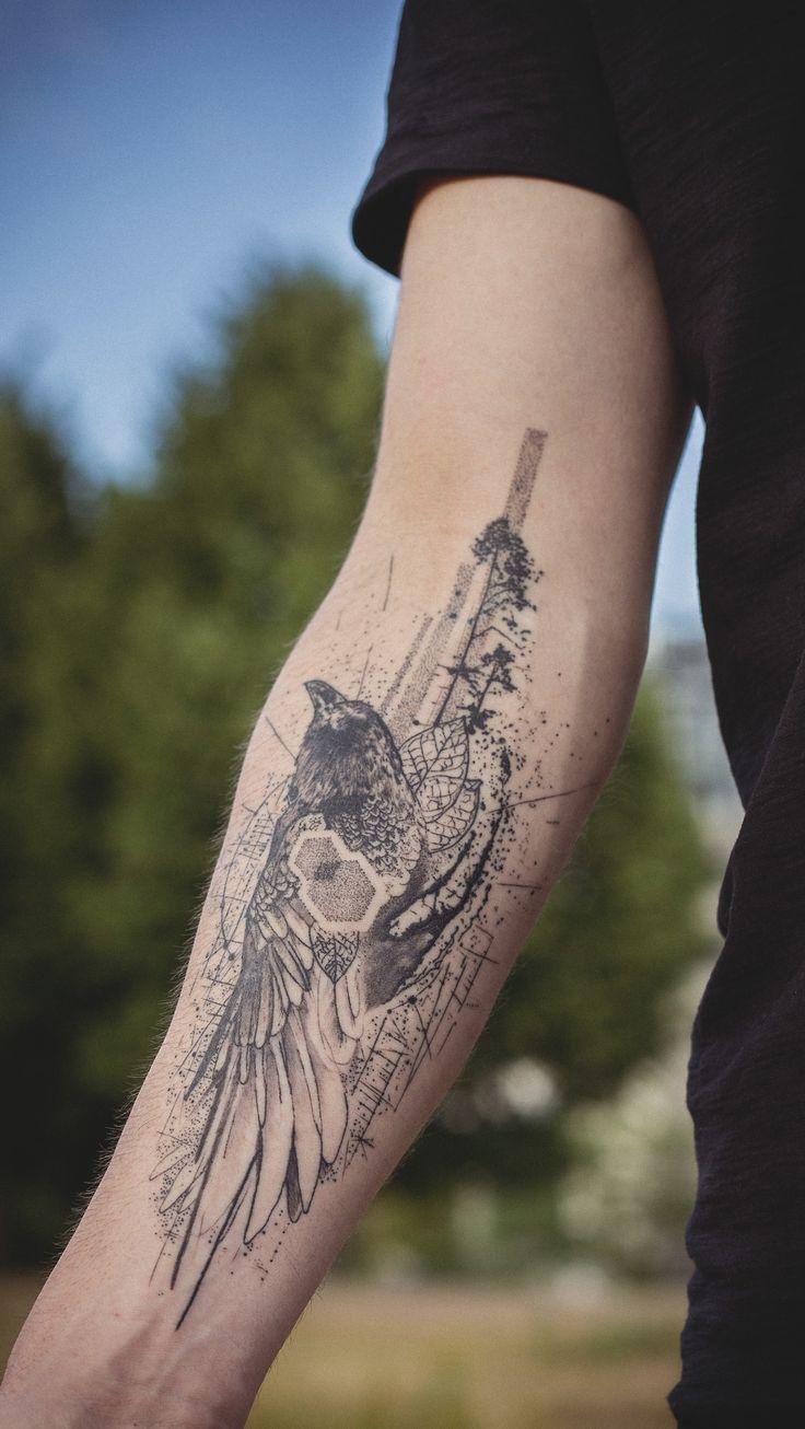 Healed tattoo, geometric / abstract raven on forearm by KOit (Berlin). koittattoo@gmail.com