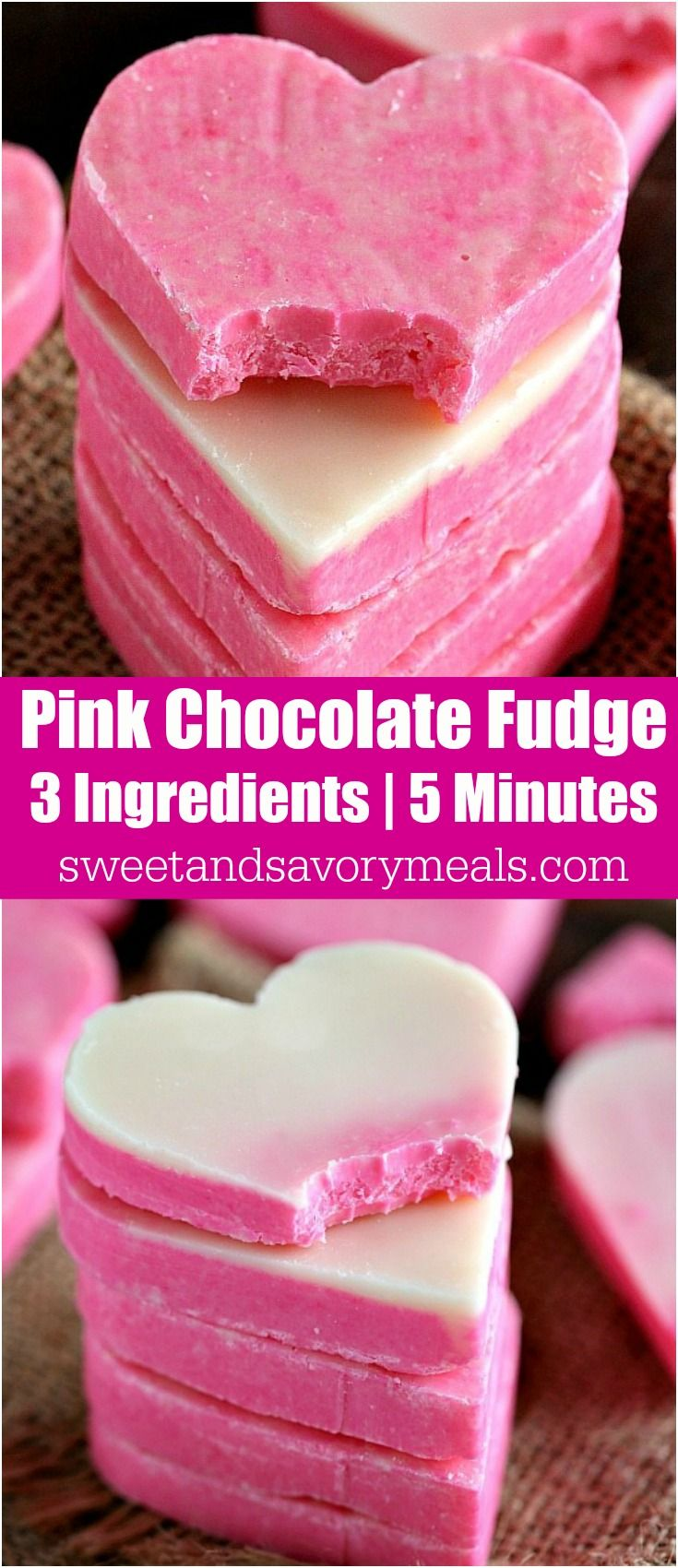 No Bake Pink White Chocolate Fudge is incredibly easy to make and very festive. 3 Ingredients, 5 minutes to get a creamy and irresistible fudge. #nobake #fudge #valentinesday #pink #heart