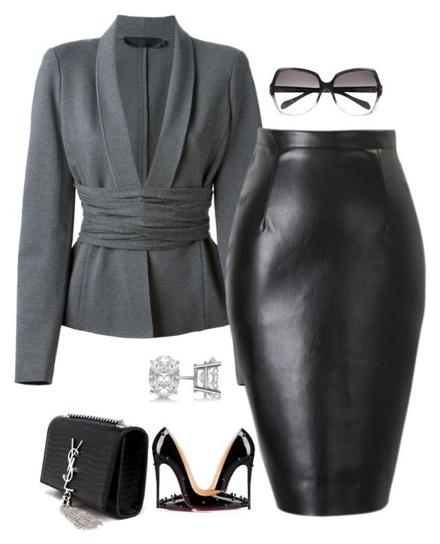 Untitled #175 by scannedbyaaron on Polyvore featuring polyvore fashion style Donna Karan Christian Louboutin Yves Saint Laurent Allurez Oliver Peoples