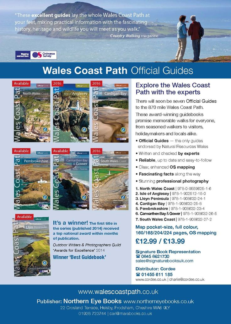 'Presenter' showing the seven Official Guides to the wales Coast Path, published by Northern Eye Books - www.northerneyebooks.co.uk