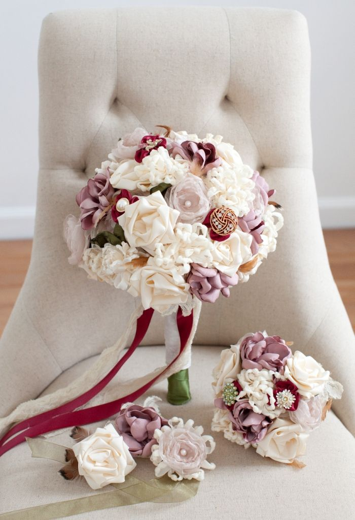 Full Package of Fabric Wedding Flowers from Mark the Occasion Designs