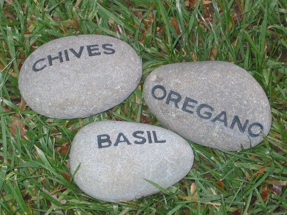Herb Garden Stone - this is a website to order from but I always see rocks like this...I can make my own.