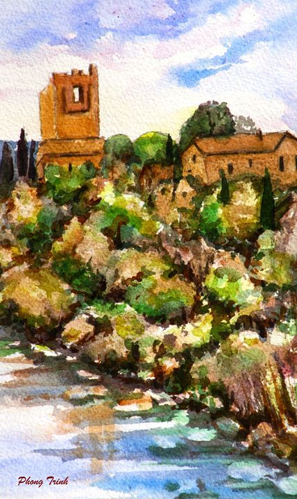 Lagrasse(16) - Phong Trinh Watercolor. More Fine Art Print Available at http://www.artpal.com/phongtrinh/