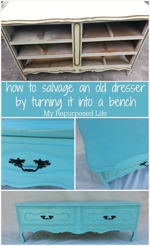My Repurposed Life-how to turn an old, unwanted French Provincial (reproduction) dresser into a cute, useful bench with storage.