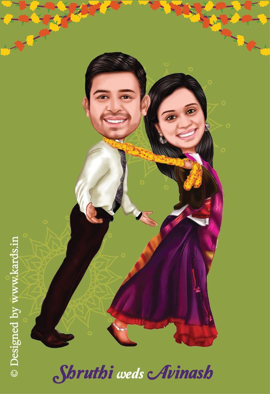 A Tanu weds Manu Style caricature invitation for a funny couple :-)