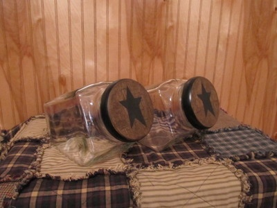 Primitive Wood Heavy Glass Canister Set Black Tan Crackle Country Star Decor | eBay