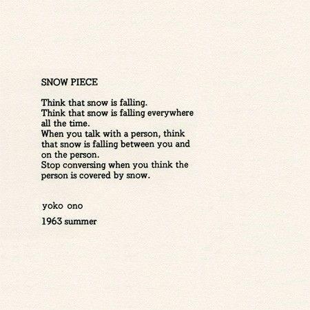 Snow Piece by Yoko Ono, 1963