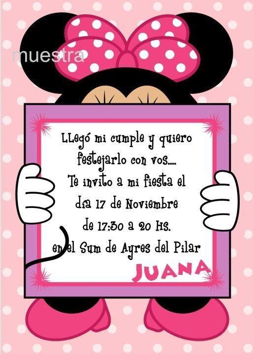 tarjetas de cumpleanos gratis para imprimir de minnie mouse Invitacion Minnie Juana jpg (516 u00d7720