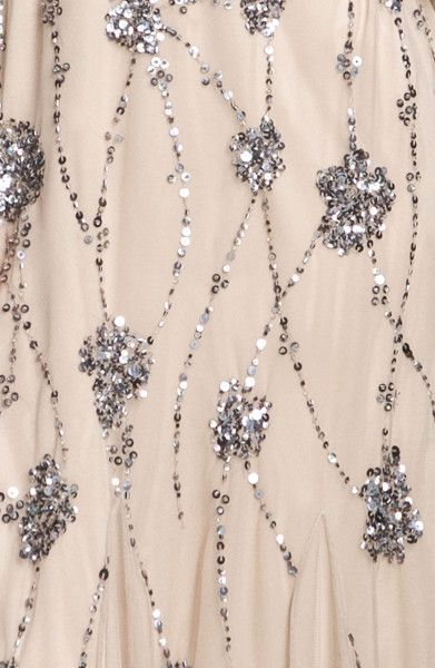 Silver Beaded Gowns | Adrianna Papell Beaded One Shoulder Gown in Beige (silver) - Lyst