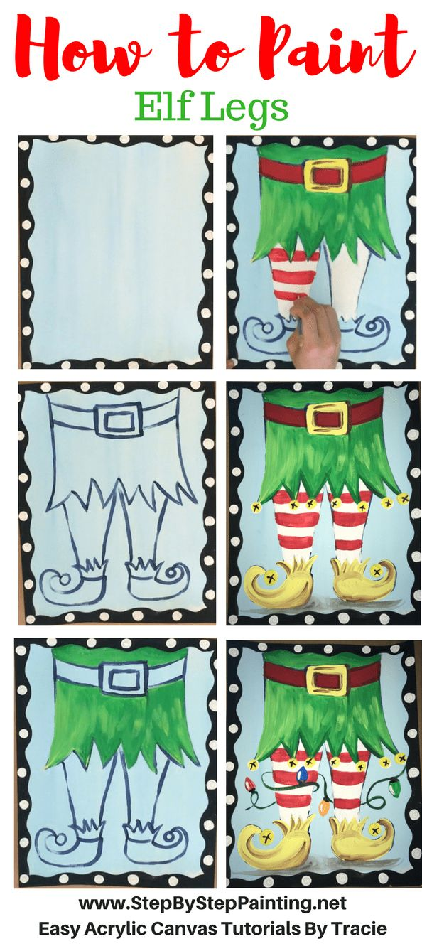 How To Paint Elf Legs - Tracie's Acrylic Canvas Tutorials #stepbysteppainting #christmascrafts