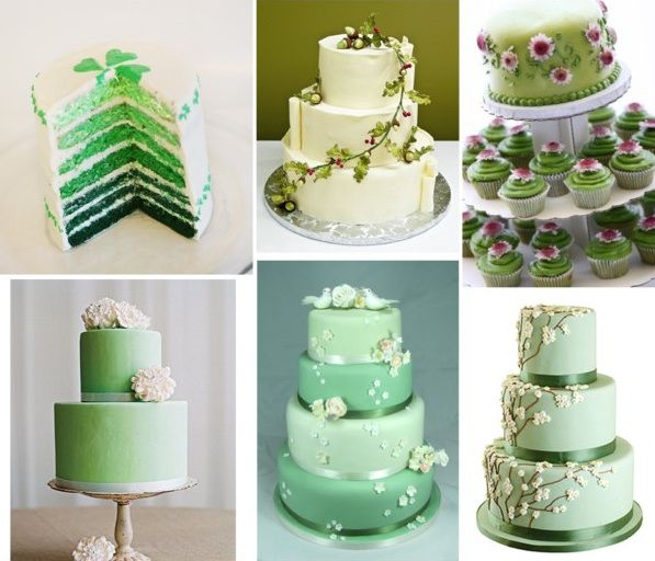 Wedding Cake Inspiration Ideas: Wedding Cakes Green And White Rhinestones