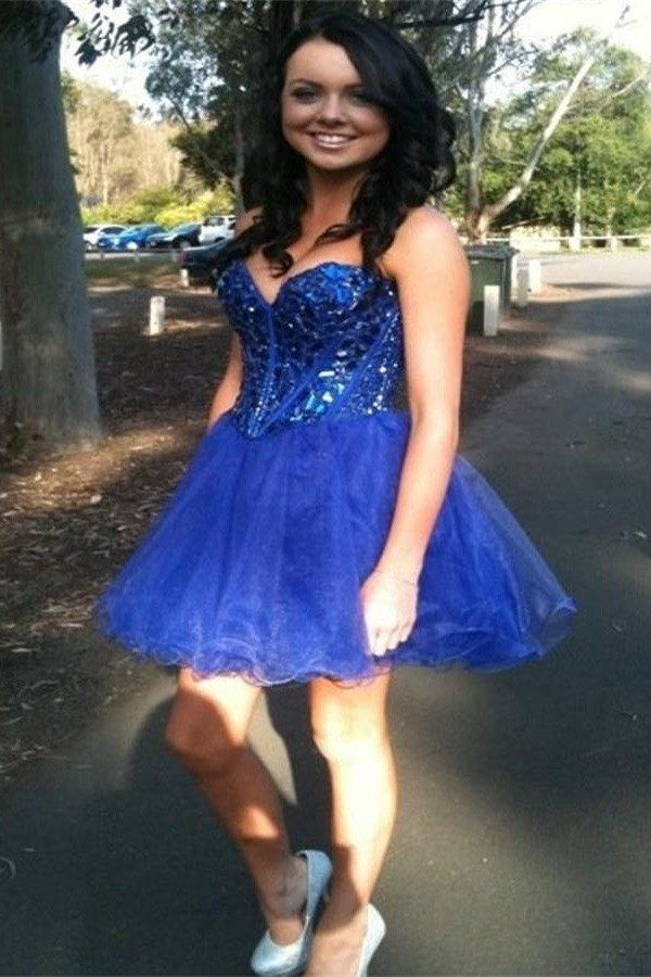 Royal Blue Homecoming Dress Short Prom Party Dresses pst1350