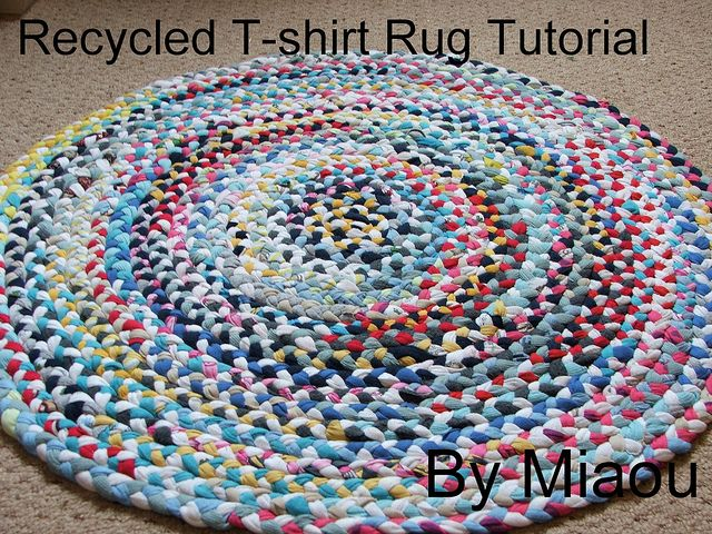 Recycled rug tutorial. Can clean out my closet, kill some time, AND cover up the awful carpet in my apartment!