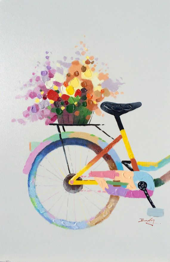Went To Market.  Adorable and colorful hand painted oil on canvas. This patchy and bright bicycle looks like it just left the local farmers market. Painted using a mixture of brush and palette knife work. The top layers are spread on using a spatula so the paint is thick and textured. Truly a sweet painting.