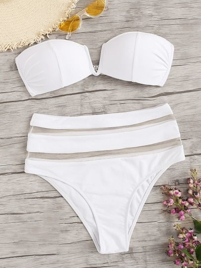 1019eb79a8 Seam Bandeau With Mesh Panel High Waist Bikini swimwear #Alfaiataria  swimwear #With Cape swimwear #Pink swimwear #Gree jumpsuit #Kurz swimwear  #Largo ...