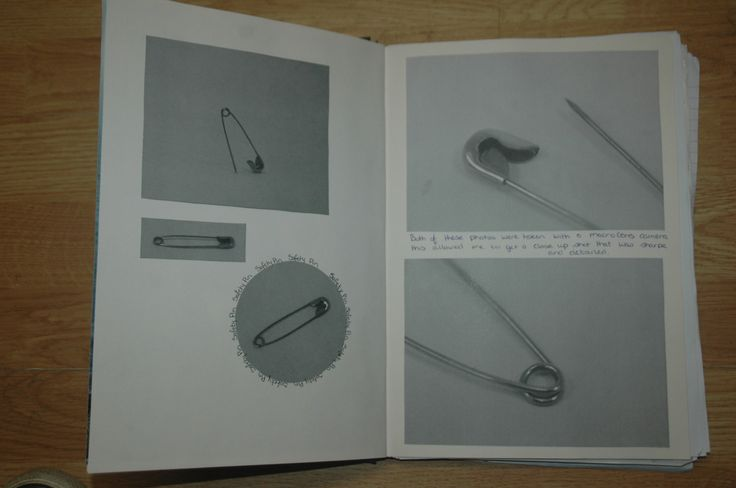 Photographs I took of my pin stuck into my Sketchbook