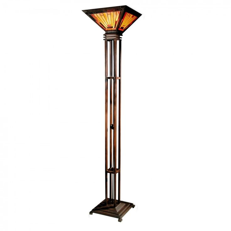 Dale Tiffany Lamps Mission Camelot Torchiere Floor Lamp In Antique Bronze    TR90034