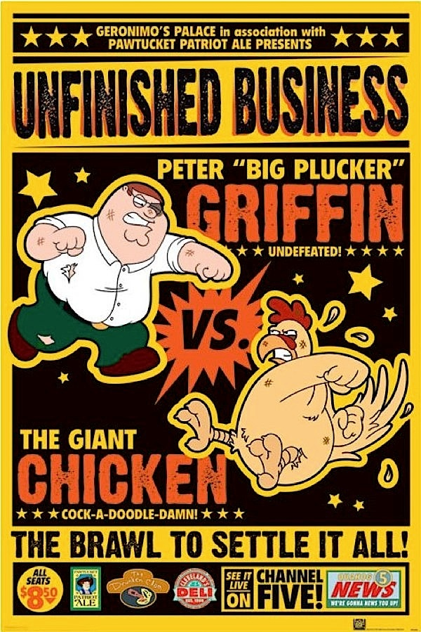Peter Griffin vs Giant Chicken poster  @Fabian Zaldivar... mira!! jajajaja
