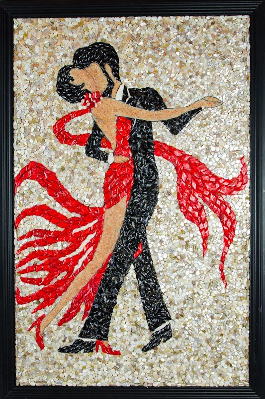 "Seashell mosaic ""Love in the air or Tango…, 20"" x 30"". This mosaic made by Alla Baksanskaya received  Green Ribbon,""Honorable mention Award""."
