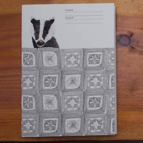 What's not to love about bertie the badger having a lush time under his crochet blanket. The jotter is A5, 16 cream pages, really nice for doodling, sketching