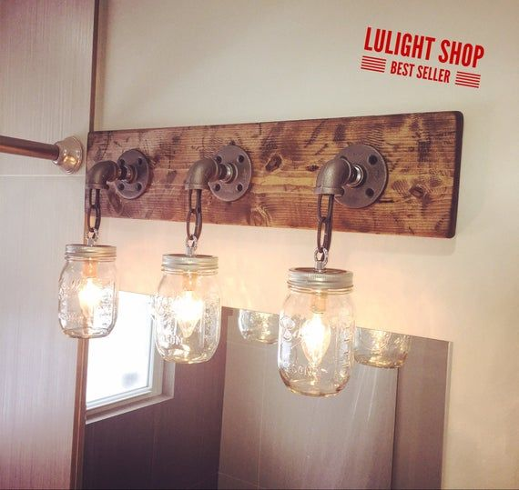 A Handmade Industrial Rustic One Of A Kind Light Fixture That Will Take You Back To Simple Ordin Rustic Light Fixtures Rustic Lighting Rustic Bathroom Decor
