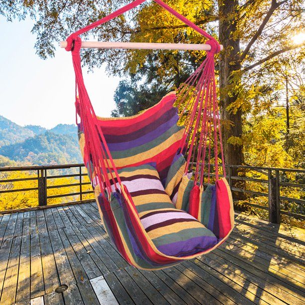 Portable Hammock Chair Btmway Outdoor Single Rope Hammock Swing Haning Chair Foldable Patio Potch Yard Lounge Han In 2020 Hanging Rope Chair Patio Hammock Rope Chair