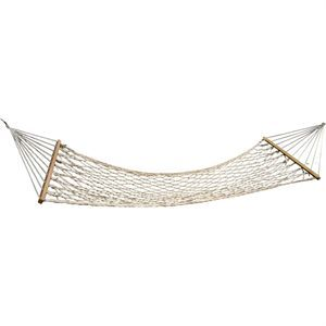 Tie this rope hammock from a stand or around 2 strong trees for the ultimate backyard lounging. Measuring 6 ft. long, this cotton rope hammock is fun and comfortable for relaxing. The rope construction is supported by 2 wooden beams with rings at either end for hanging.