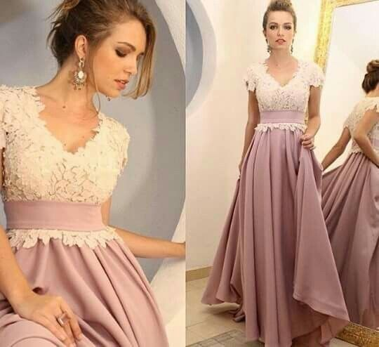 Vintage Appliques ,A-Line Long Evening Dress,V Neck ,Cap Sleeves ,Floor Length , Elegant Formal Dress ,New Fashion ,Custom Made,P1183