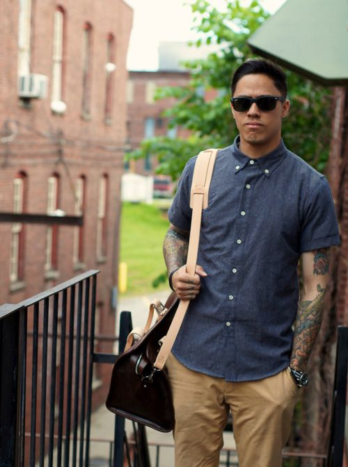 Nerdy Chic ! The tattoos added a little toughness to the look but the all the way buttoned up gives the nerdy vibe ! ((: #meninfashion