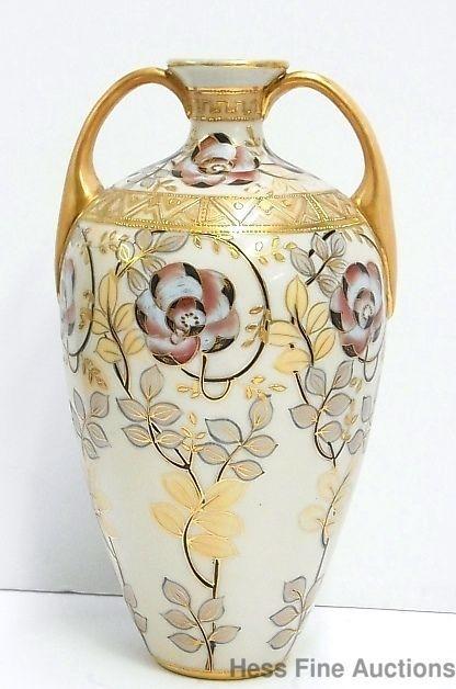 Satsuma Hand Painted Vase I E Handled
