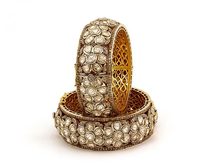 Nizam antique diamond bangles with flowers